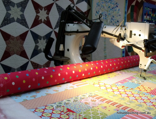 Quilting of Melly and Me quilt October 2010